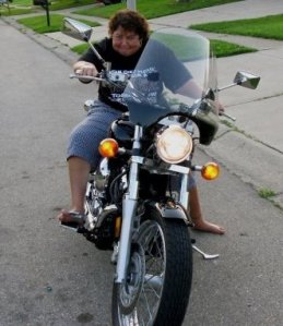 Lisa on my motorcycle